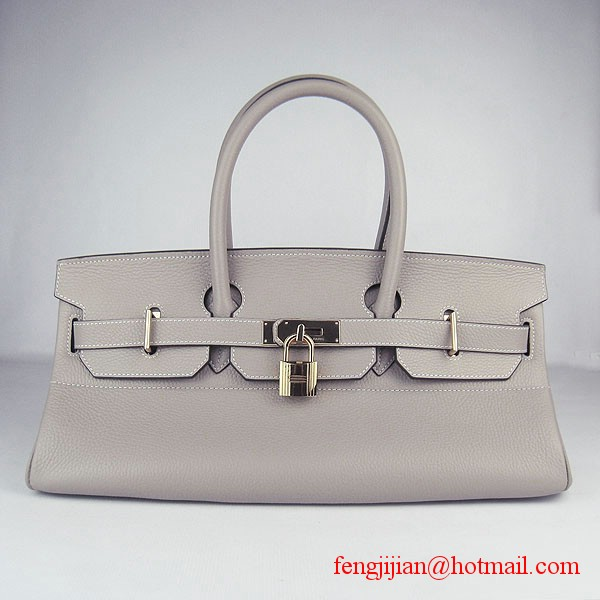 Hermes Birkin 42cm Togo Leather Bag 6109 Grey gold padlock