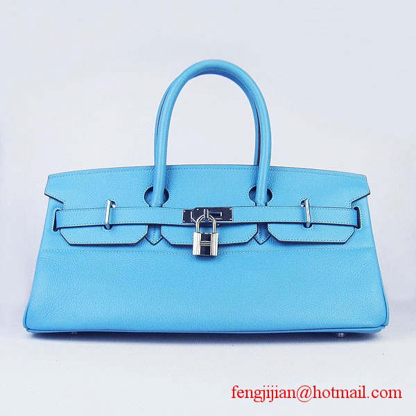 Hermes Birkin 42cm Togo Leather Bag 6109 Light Blue silver padlock