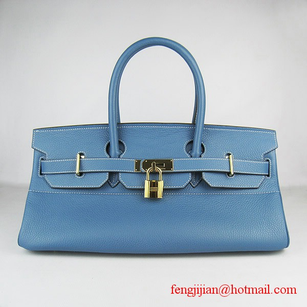 Hermes Birkin 42cm Togo Leather Bag 6109 Blue gold padlock