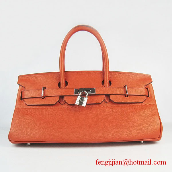 Hermes Birkin 42cm Togo Leather Bag 6109 Orange gold padlock