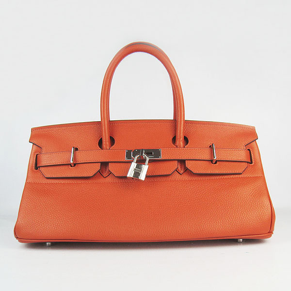 Hermes Birkin 42cm Togo Leather Bag 6109 Orange silver padlock
