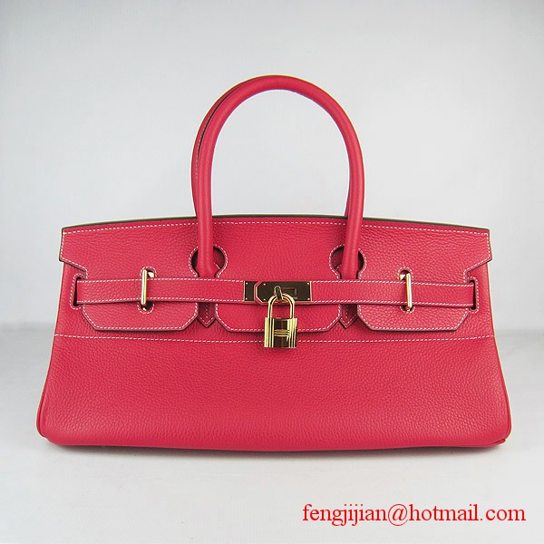 Hermes Birkin 42cm Togo Leather Bag 6109 Red gold padlock